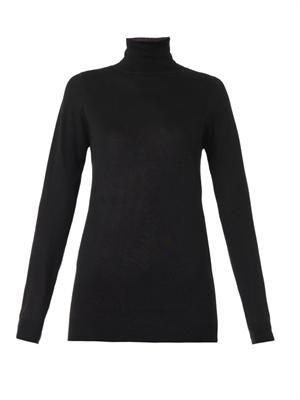 Roll-neck silk and cashmere-blend sweater