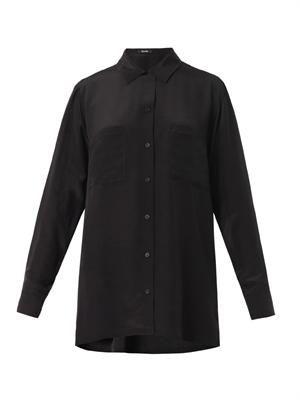 Patch-pocket silk blouse