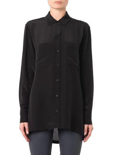 Freda Patch-pocket silk blouse