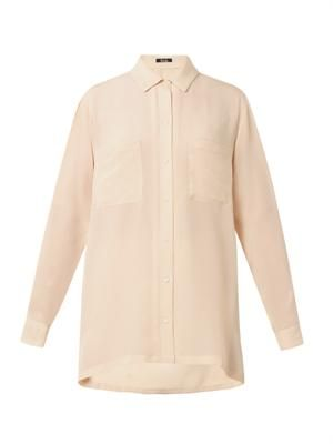 Patch-pocket silk blouse