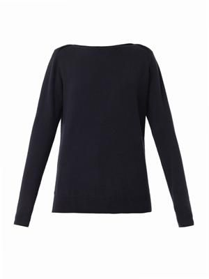Boat-neck cashmere-knit sweater