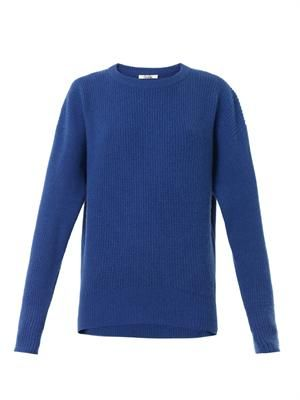Crew-neck ribbed-knit cashmere sweater