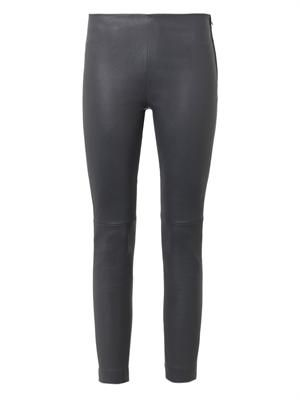 Charcoal-grey leather leggings