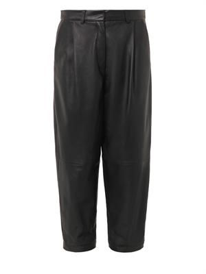 Pleat-front leather trousers