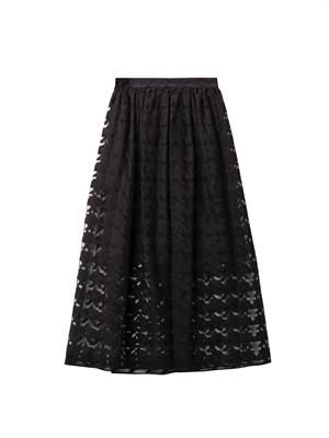 Embroidered hound's-tooth midi skirt