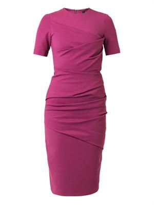 Ruched stretch cotton-blend dress