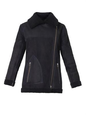Navy shearling biker coat
