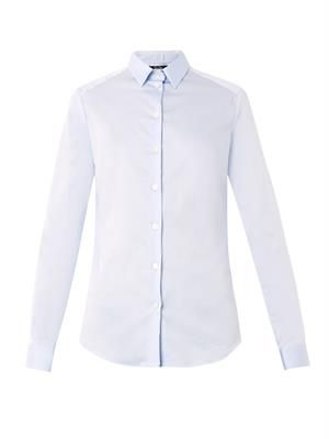 Point-collar cotton shirt