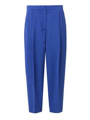 Balloon-leg cropped wool trousers