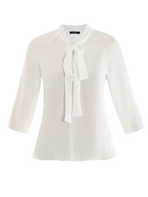 Bene neck-tie silk blouse