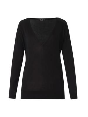 V-neck silk-knit sweater