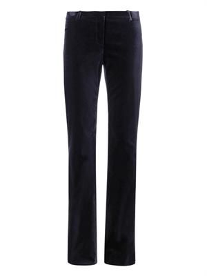 Flared-leg velvet trousers
