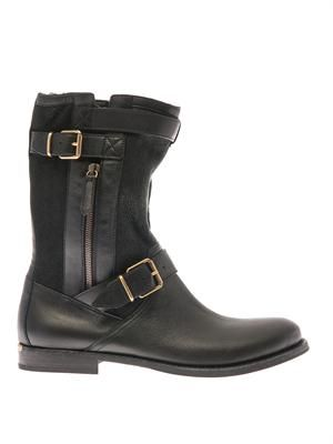 Belted-buckle leather and suede boots