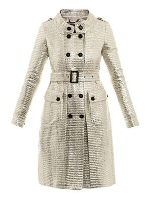 Metallic Bayleaf trench coat