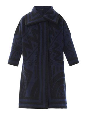 Wool and cashmere blanket coat