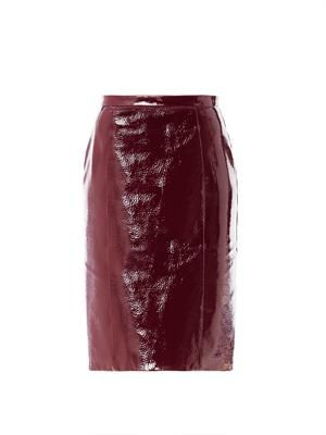 Laminated leather skirt
