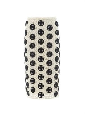 Curlicue-lace pencil skirt