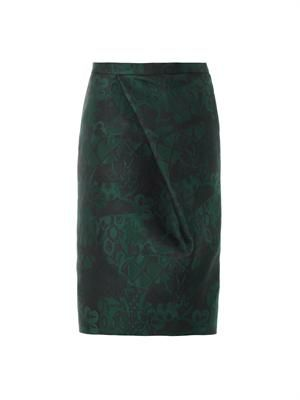 Trellis-jacquard pencil skirt