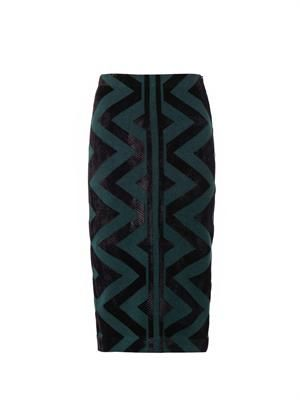 Geometric compact-knit pencil skirt