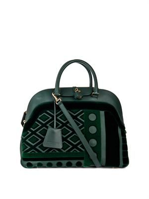 Velvet and leather bowling bag