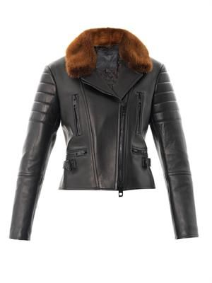 Mink-collar leather jacket