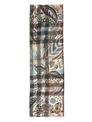Floral leaf check cashmere scarf