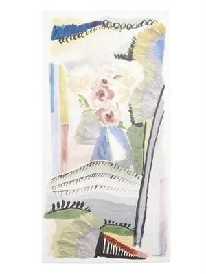 Floral Landscape-print cashmere scarf