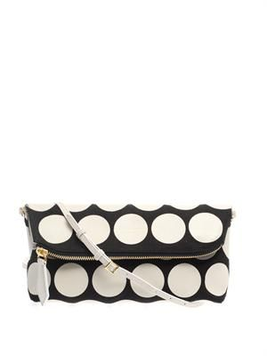 Polka-dot leather and canvas clutch