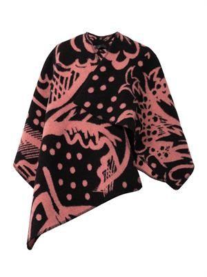 Thistle-motif blanket-poncho