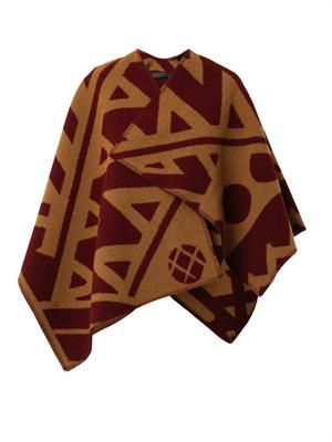 Graphic-motif blanket-poncho