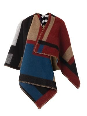 Colour-block blanket-poncho