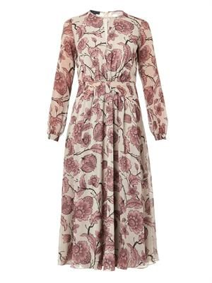 Floral-print silk-georgette dress