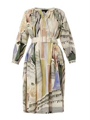 Abstract Floral-print smock dress