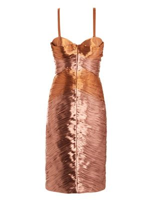 Metallic lamé pleated bustier dress