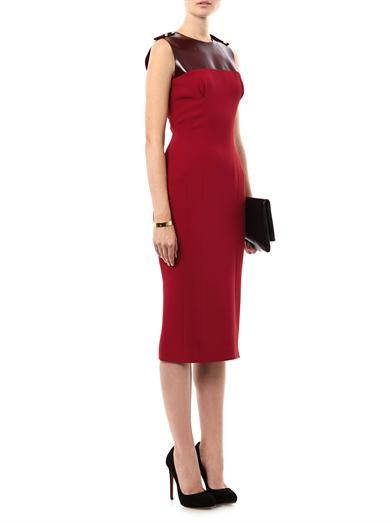 Burberry Prorsum Silk and bonded rubber fitted dress