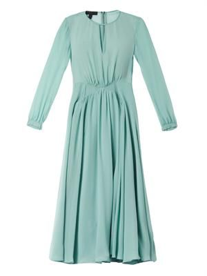 Pleated silk-georgette dress