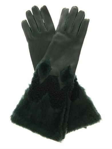 Burberry Prorsum Zoe leather and shearling gloves