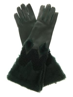 Zoe leather and shearling gloves