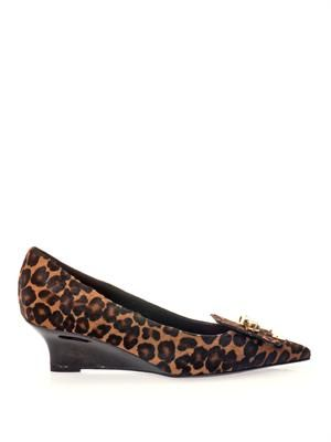 Partridge leopard calf hair wedges