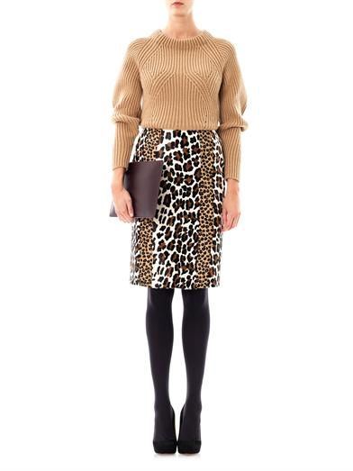Burberry Prorsum Animal-print ponyhair pencil skirt