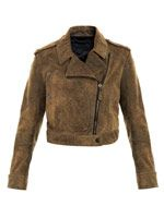 Washed leather biker jacket