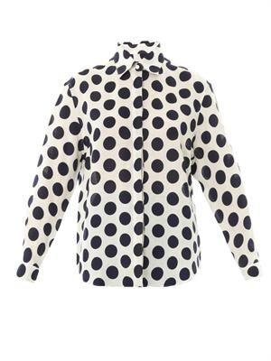 Large polka-dot linen shirt