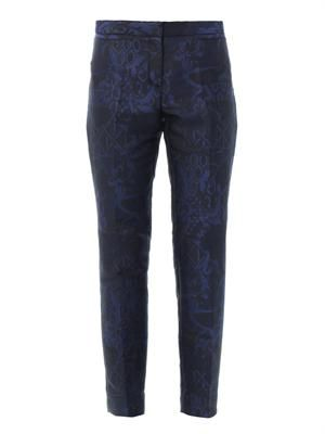 Trellis-jacquard tailored trousers
