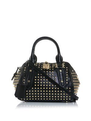 Blaze studded patent-leather bag