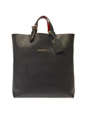 Bonded-leather portrait tote