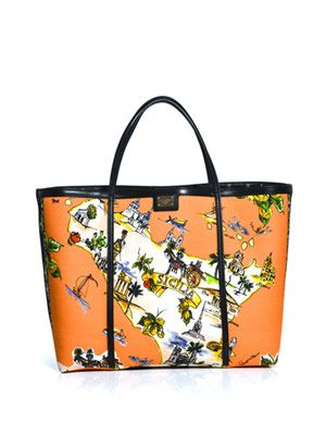 Siciliana-print canvas tote