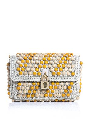 Beaded raffia padlock clutch