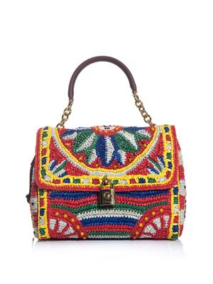 Flora raffia and beaded bag