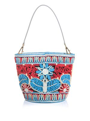 Miss Ingrid floral-raffia bucket bag