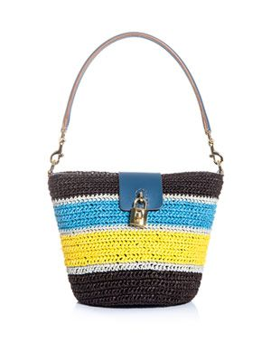 Raffia stripe bucket bag